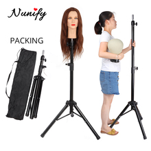 Nunify Wig Head Stand Manikin Head Holder For Hairdressing Tripod For Wigs Head Adjustable Stronger Black Tripod Wig Stand