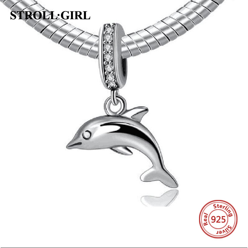 StrollGirl Animal fish Dolphin 925 sterling silver charm beads fit European charms bracelets Pendant bead jewelry making gift