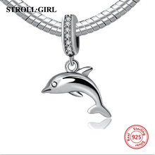 StrollGirl Animal fish Dolphin 925 sterling silver charm beads fit Pandora charms bracelets Pendant bead jewelry making gifts