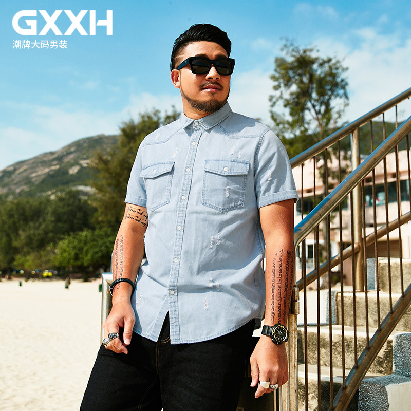 fc7a2af725 Detail Feedback Questions about GXXH Light Blue Denim Shirt Men 100%Cotton  Casual Male Distressed Denim Shirt Short Sleeve Brand Big and Tall Man  Loose ...