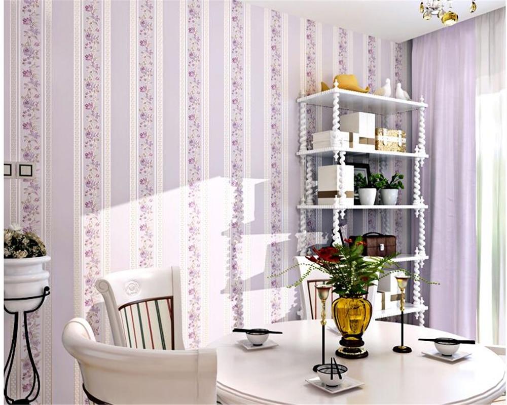 beibehang Modern simple vertical stripes warm romantic garden non-woven wallpaper girl children bedroom living room 3d