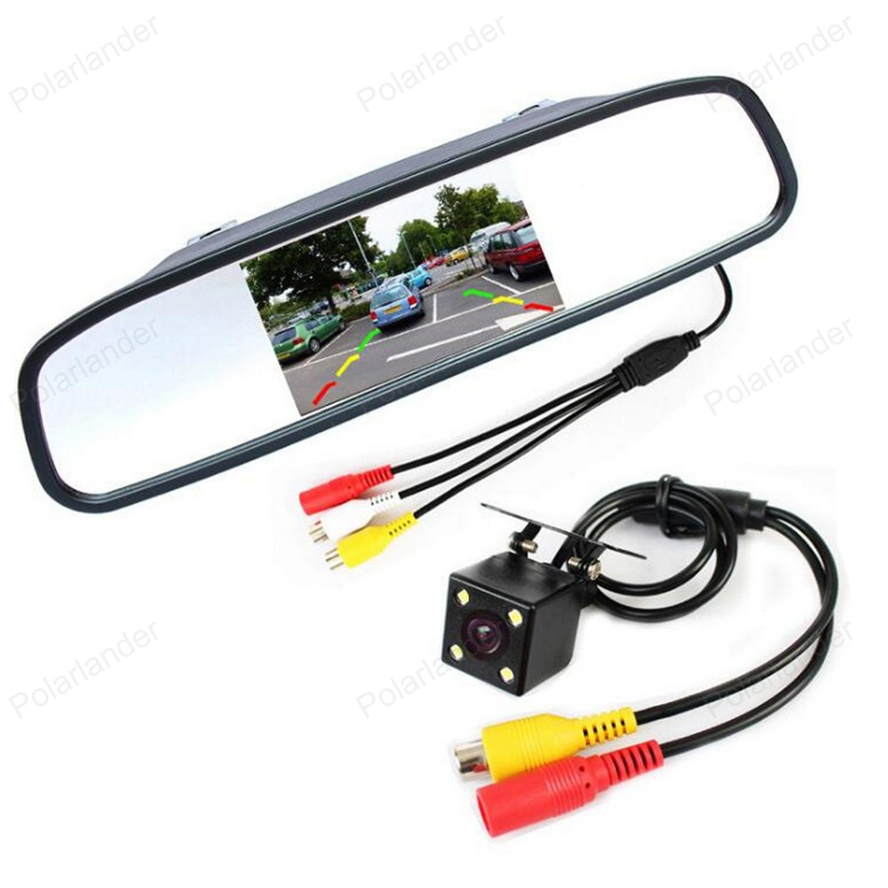 5 inch Car Mirror <font><b>Monitor</b></font> 2 Video input +Mini <font><b>4</b></font> LED night vision Car CCD Rear View Camera Parking assistance image