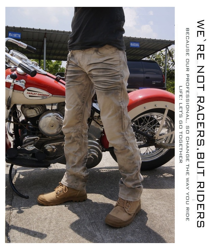 Summer light casual motorcycle jeans locomotive scooter cruiser motor pants men s motorbike protective pants