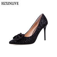 HZXINLIVE פלטפורמת Bowknot נעלי נשים עקבים גבוהים סקסית מחודדת נעלי נשים נעליים נשיות זהב יוקרה אופנה גבירותיי נעל