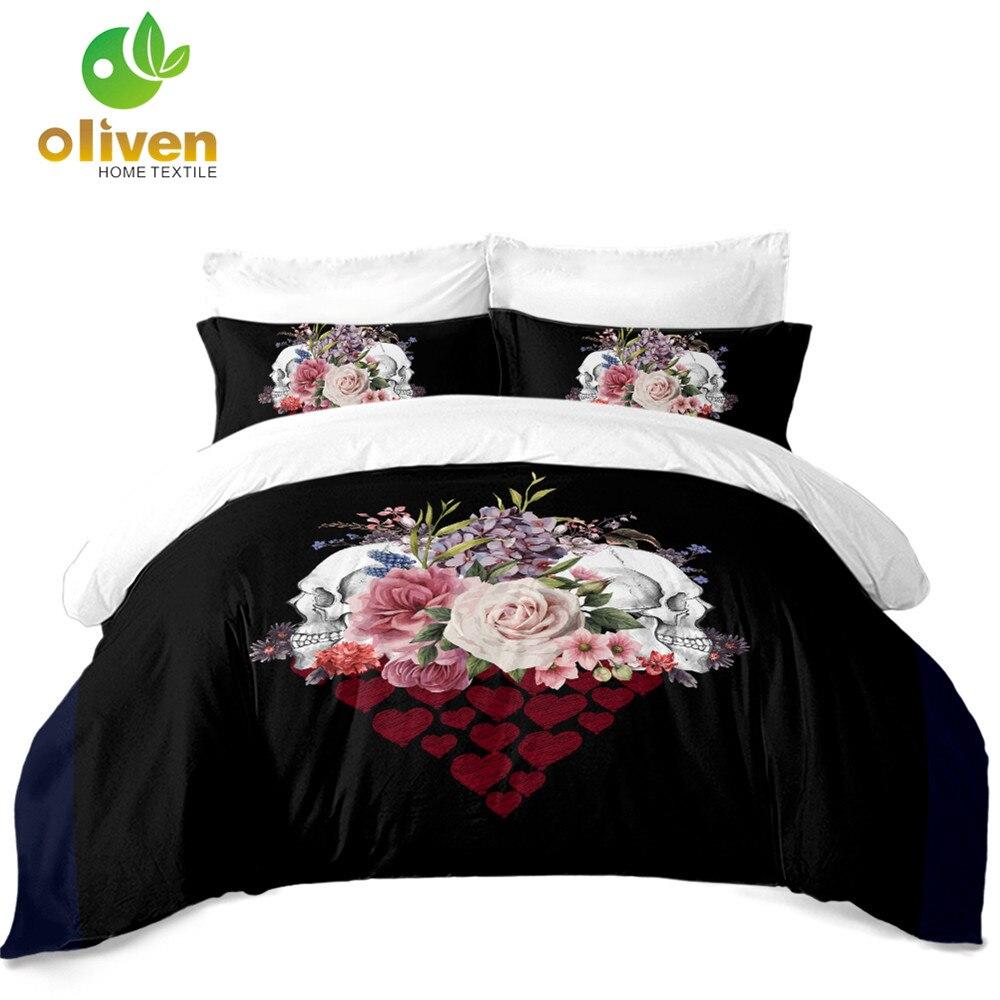 Набор постельного белья с изображением сахарного черепа для пар, набор пододеяльников с принтом в виде сердца розы, набор постельных принад
