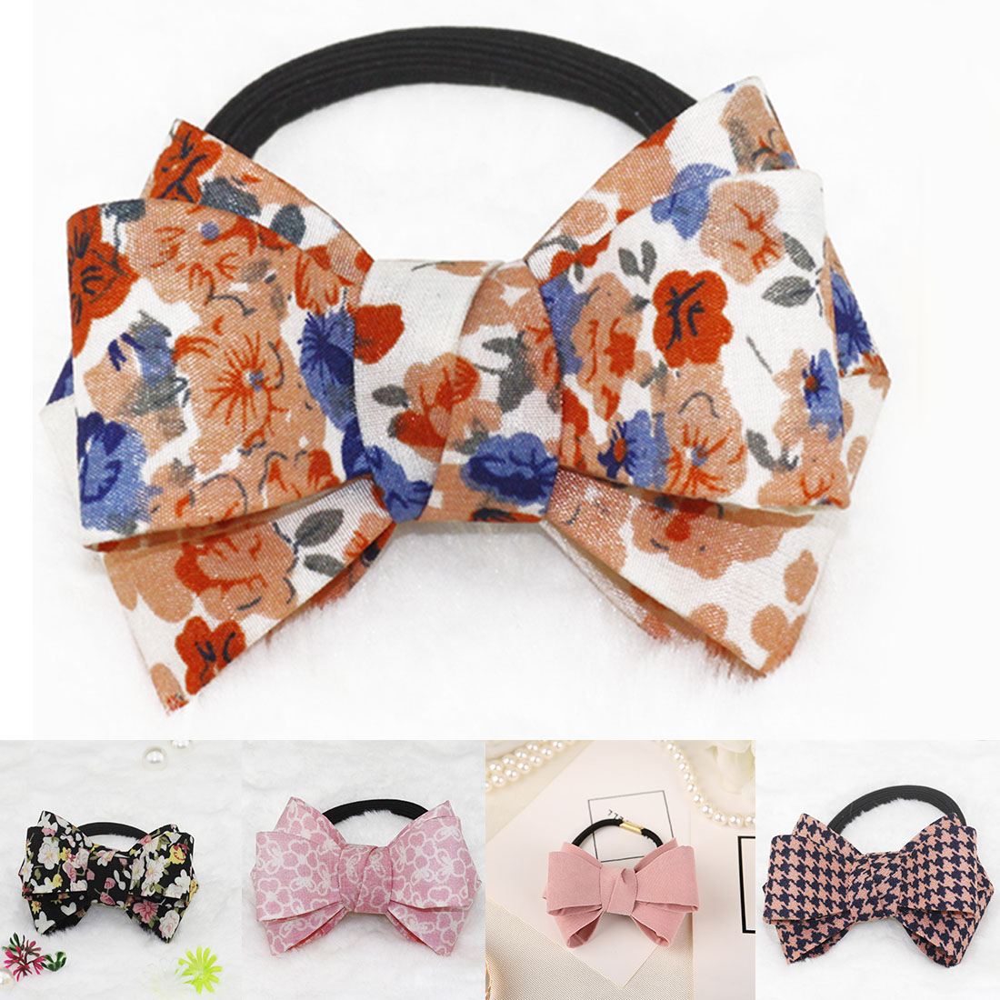 Arrival Hair Tie Layer Flannelette Bows Big Bow Dot Flora Hair Ponytail Hair Bands Rubber Rope For Women Girl   Headwear