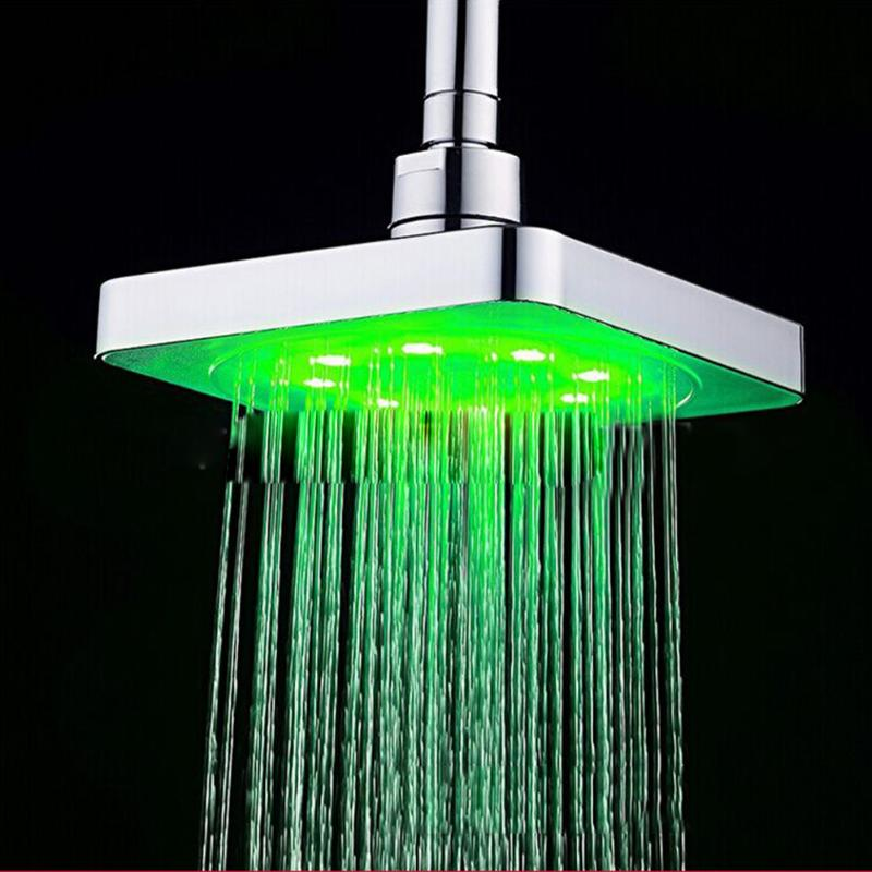 6 Inch Square LED Shower Head 3 Color Changing Temperature Sensor Top Sprayer Bathroom Accessories Showers high quality