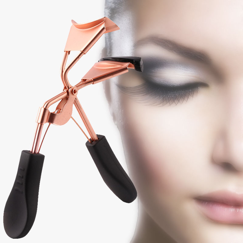 1pc Woman Rose Gold Eyelashes Curler Supplementer Clip with Black Handle Eyelash Curler Replacement Pads Makeup Tools image
