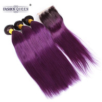 Fashion Queen T1B/Purple Malaysian Straight Human Hair 3 Bundles With Closure 100% Human Hair Extensions With 4*4 Lace Closure