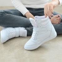 Women Sneakers 2018 Women Casual Shoes Platform Hidden Increasing Sneakers Breathable Leather Shoes High Top White Sneakers