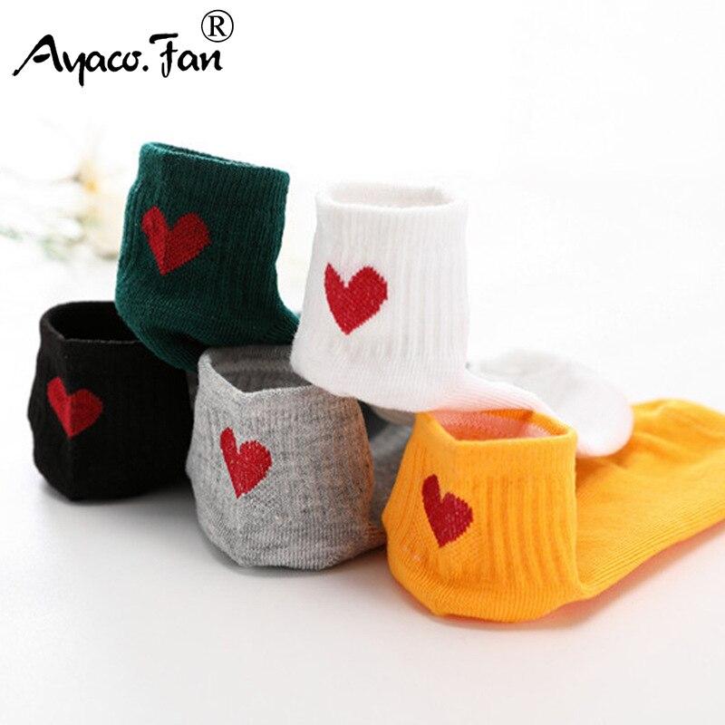 5Pairs New Cotton Socks For Men Women Cute Cat Bear Striped Solid Ankle Socks Short Socks Summer Autumn Casual Heart Gril Socks