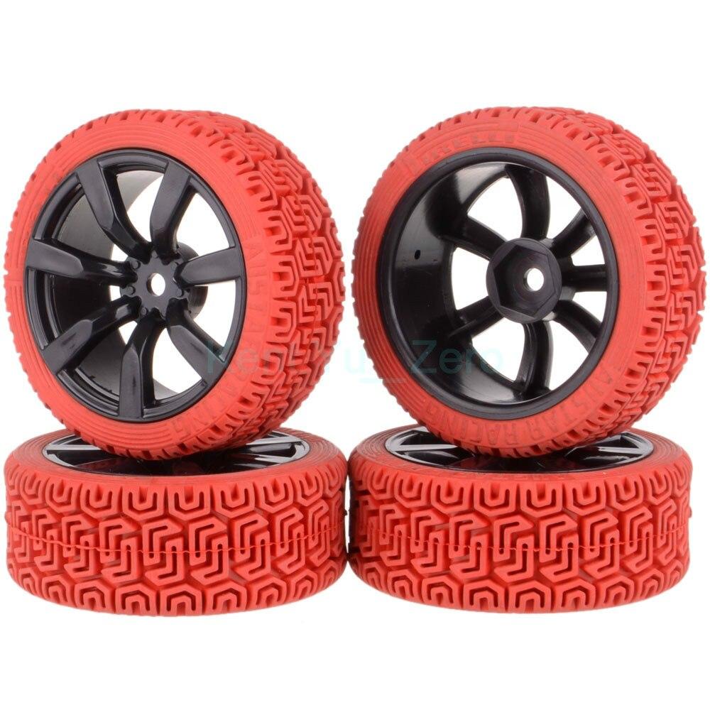 4PCS 12MM Hub HPI Redcat HSP Plastic Wheel Rim & Grip Rubber Tyre,Tires,For RC 1:10 Car On Road,9047-8015