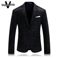 Solid Black Mens Printed Blazer Leopard Fashion Mens Clothing Party Stage Costumes For Singers Slim Fit