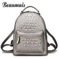 Beaumais High Quality Women Backpack 100 Genuine Leather Crocodile Pattern Female Knapsack Elegant Lady Shoulder Bag