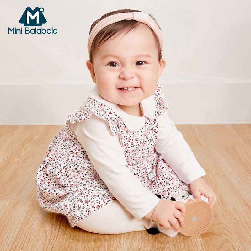 756c4bc48 Mini Balabala Baby Dress Newborn Infant Baby Boys Girls Cotton Printed  Dresses One-Piece Clothes