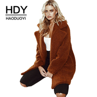 HDY Haoduoyi Street Wind Refutation Collar Winter Autumn Warm Fashion Women New Arrival 2018 Simple Casual