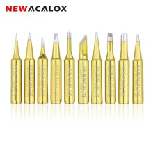 NEWACALOX 10pcs/lot Yellow-Gold Lead-free Welding Tips 900M-T Soldering Iron Tip for 878D Rework Soldering Station BGA Tool Kits