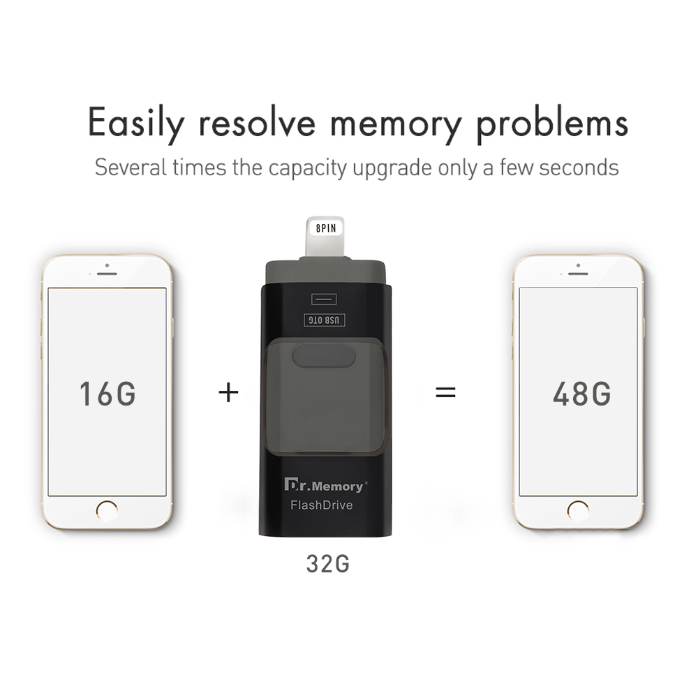 3 in 1 I-USB FLASH DRIVE OTG 64GB Pen Drive for <font><b>Iphone</b></font> <font><b>6s</b></font> 7 plus usb flash 32G android <font><b>16GB</b></font> flash U DISK for samsung sony tablet image