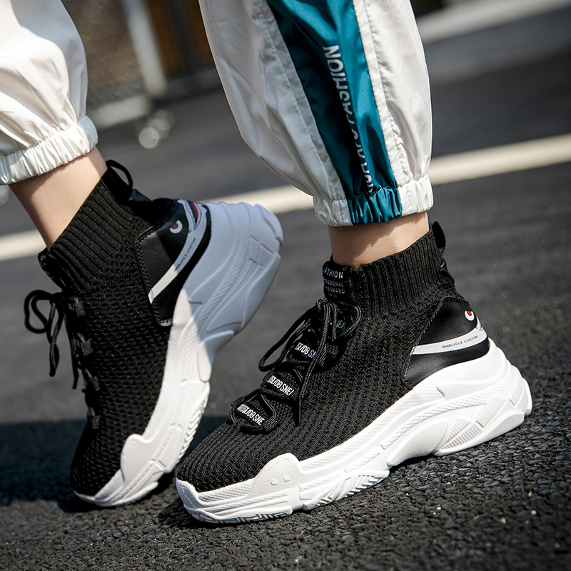 Sale Cheap Winter Solid Light High Top Breathable Knit Socks Boots Elastic Band Stretch Flat Shoes For Men Sneaker Casual Shoes