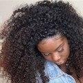 Cheia Do Laço Perucas de Cabelo Humano Para As Mulheres Negras 8A Crespo Encaracolado 130% Densidade Glueless Parte Dianteira Do Laço Perucas de Cabelo Humano Perucas de Cabelo Brasileiros