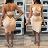 New 2017 Women Summer Sexy Fashion Sleeveless Strapless Shoulder off Lace up Bandage 2 Pieces Set