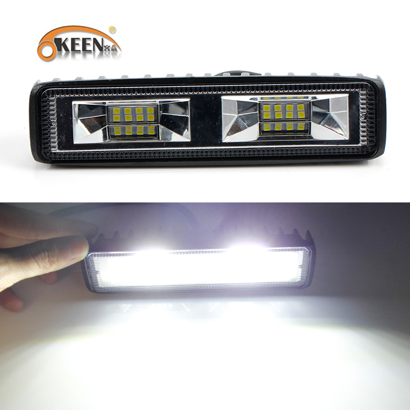 Image 2 - OKEEN Super Bright LED Work Light 48W Offroad Car 4WD Truck Tractor Boat Trailer 4x4 SUV ATV 12V Flood LED Light Bar Fog Lamp-in Light Bar/Work Light from Automobiles & Motorcycles