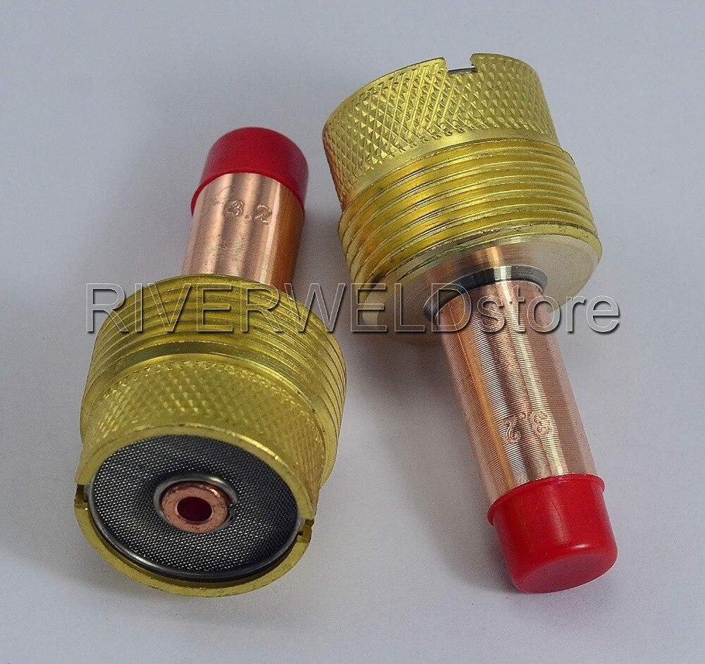 Large Diameter TIG Gas Lens Collet Bodies For SR WP 17 18 26 Torch 45V116 1/16'' 45V64 3/32'' 45V63 5/32