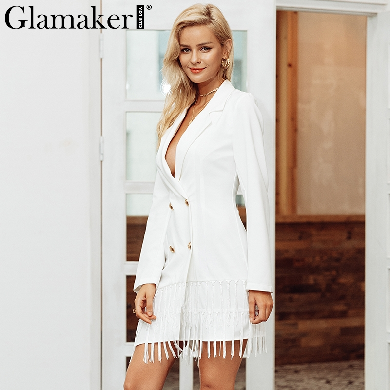 Glamaker Tassel sexy white blazers suit Women casual v neck fringe blazers dress Winter long sleeve office ladies coat suit 2019