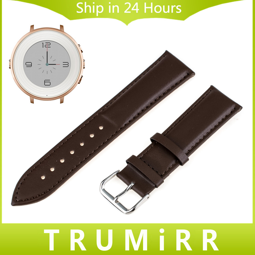 Genuine Leather Watchband for Pebble Time Round 14mm Women's Smart Watch Band Plain Strap Wrist Belt Bracelet Black Brown + Tool 18mm genuine leather watchband for withings activite steel pop smart watch band wrist strap plain grain belt bracelet tool