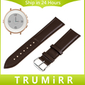 Genuine Leather Watchband for Pebble Time Round 14mm Women's Smart Watch Band Plain Strap Wrist Belt Bracelet Black Brown + Tool