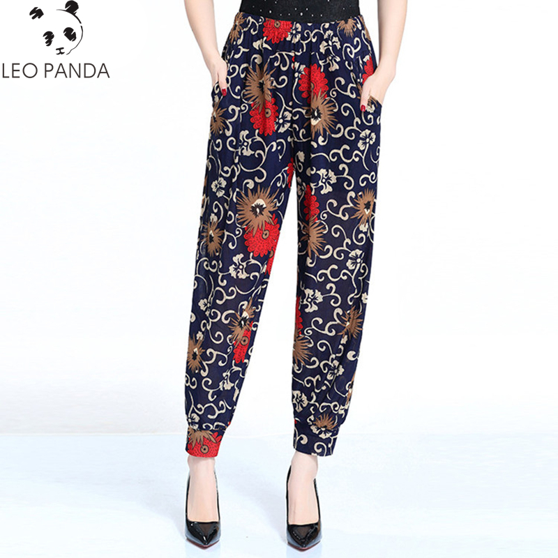18 Color Summer Women Harem   Pants   Beach Wear Floral Print Trousers Chiffon Brand   Wide     Leg     Pants   Bloomers Middle Aged Female Y618