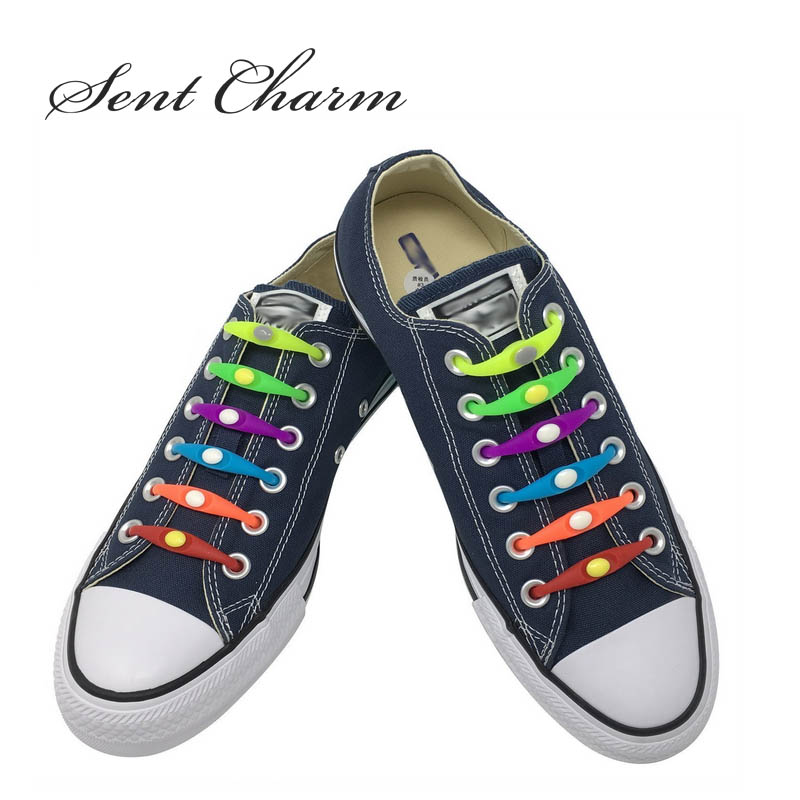 SENTCHARM Neat Fashionable & Waterproof No Tie Silicone Shoelaces Mixed Color Elastic Shoestrings 12pcs/Pack