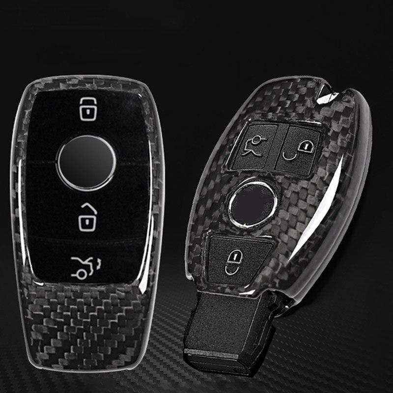 Чехол для ключей из настоящего углеродного волокна для Mercedes Benz S Class E Class C Class w205 GLC X253 2017 2018 автомобильные аксессуары