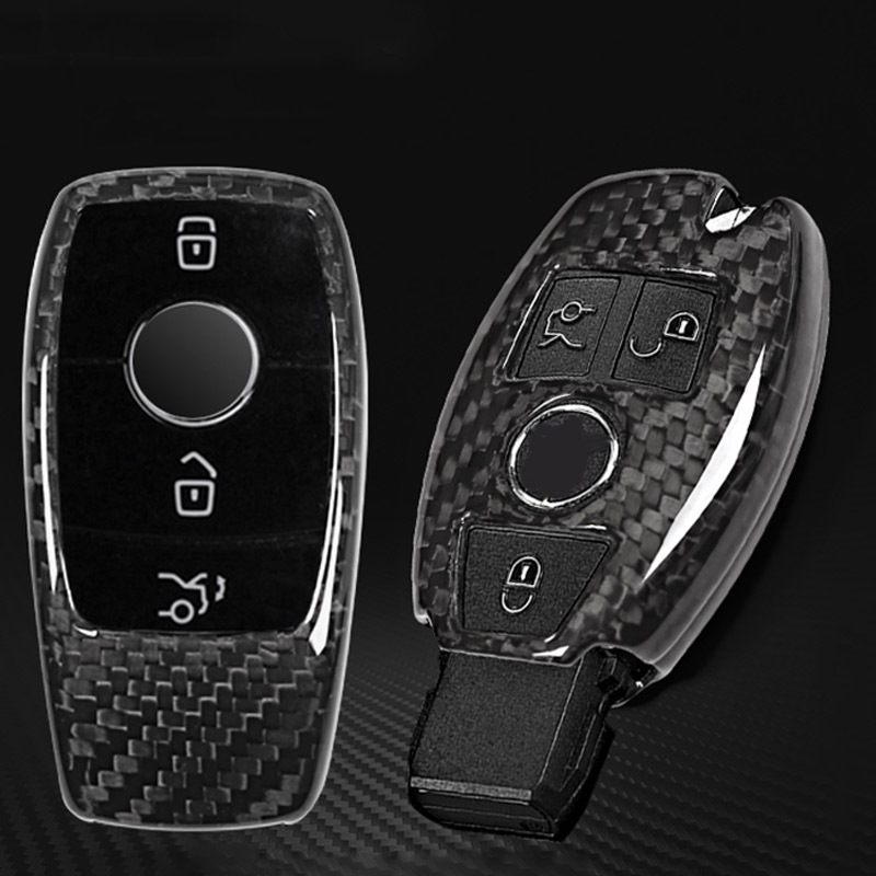 Real Carbon Fiber Car Key Shell Cover Trim For Mercedes Benz S Class E Class C Class w205 GLC X253 2017 2018 Car Accessories