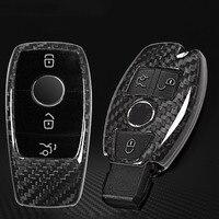 Real Carbon Fiber Car Key Shell Cover Trim For Mercedes Benz S Class E Class C Class w205 GLC X253 2017 2018 Car Accessories