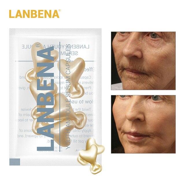 LANBENA 24 К золото пептид морщин лица ампулы Capsule крем для лица акне отбеливания кожи sera Anti-Aging подъем укрепляющий 5 зерна
