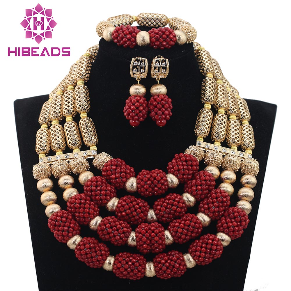 Fabulous 4 Steps Wine Red Coral African Beads Jewelry Set Gold ...