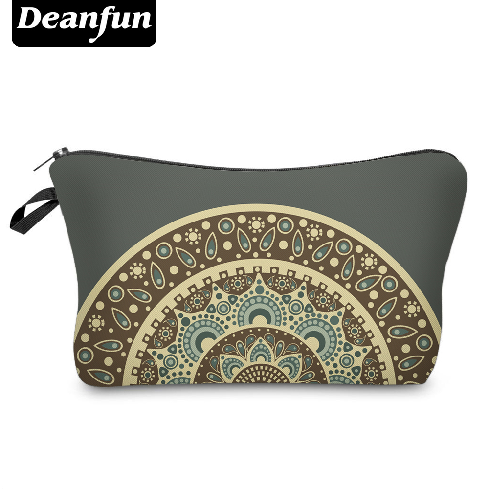 Deanfun 3D Printing Cosmetic Bags Mandala Pattern Necessaries for Women Storage Makeup Vintage Dropshipping 50967 1 design laser cut white elegant pattern west cowboy style vintage wedding invitations card kit blank paper printing invitation