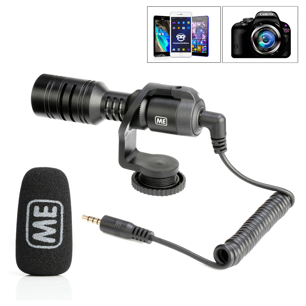 ME M1Q1 Universal Condenser Video Microphone with Shock Mount for iPhone/Andoid Smartphones, Canon EOS/Nikon DSLR Cameras and Ca