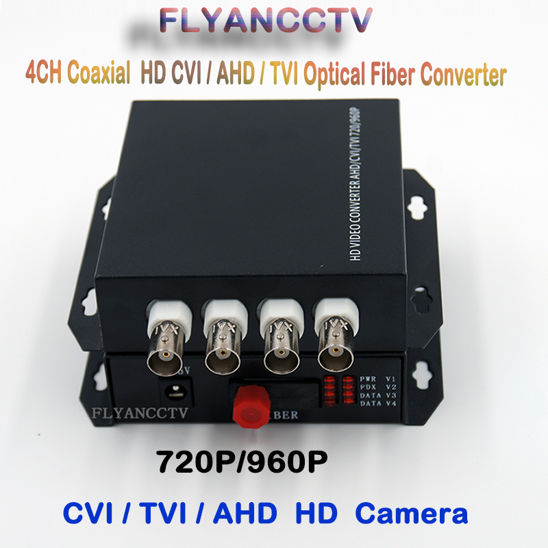 цена на HD-CVI 4 Channel Video fiber optical Media Converter Transmitter Receiver -1Pair for 720P 960P AHD CVI HD Analog CCTV Camera