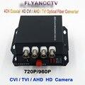 HD-CVI Transmissor Receptor de 4 Canais de Vídeo de fibra óptica Conversor de Mídia-1 Par para 720 P 960 P AHD CVI HD Câmera de CFTV Analógico