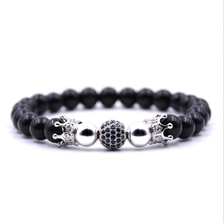 Fashion Glamour Black Zircon Ball and Crown Accessories 8mm Black Beads Men's Bracelet and Bangle Women's Jewelry