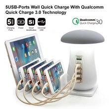 Soporte multifunción para teléfono móvil con 5 puertos, Cargador USB, lámparas LED tipo Seta, soporte para teléfono de escritorio para Iphone y Samsung