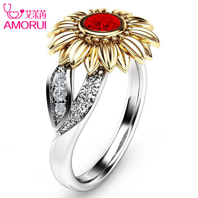 Silver Color Cute Gold Sunflower Crystal Wedding Ring 1