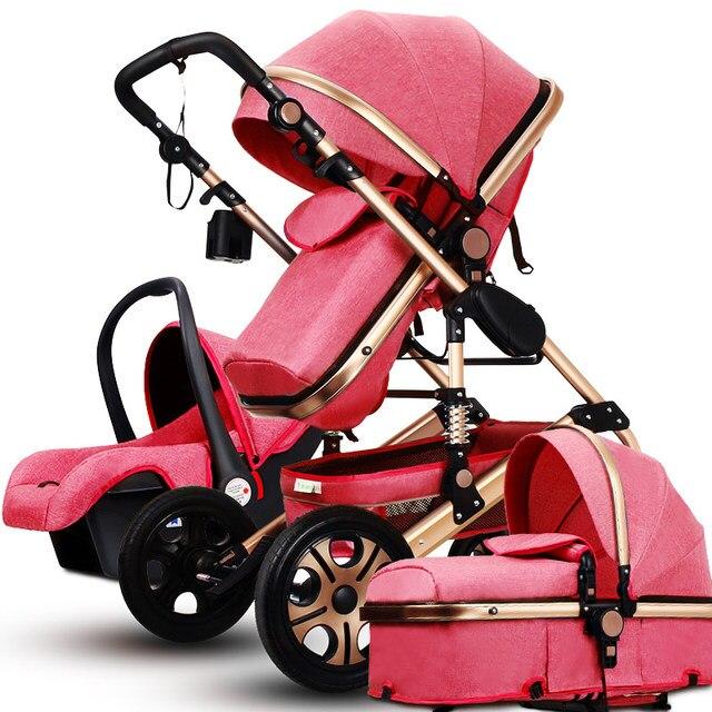 Famous Brand High Landscape Luxury Baby Stroller 3 In 1 Newborn Folding Child Trolley Car Seat With Basket Bassinet EU standard