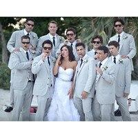 Custom Made Grey Wedding Suits For Men Formal Skinny Groomsmen Custom Simple Men Tuxedo 3 Pcs