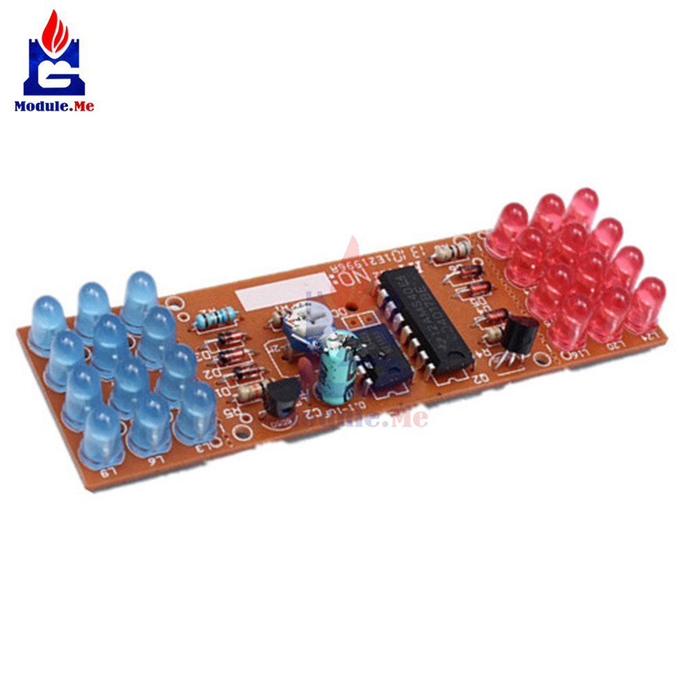 1Set NE555 + CD4017 Practice Learning Kits Red Blue Double Color Flashing Lights Kit Electronic Suite 9-12V DIY for Arduino 7