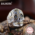 BALMORA 925 Sterling Silver Vintage Ring Jewelry Top Quality Punk Skull Rings for Men Women Gifts Cool Jewelry Anillos SY20540