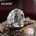Balmora 925 esterlina anel de prata do vintage jóias de alta qualidade do crânio do punk anéis para presentes das mulheres dos homens legal jóias anillos sy20540