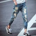 2016 summer new male Shi Halun nine points Slim denim pants men beam fashion jeans plus size 28-36 yards